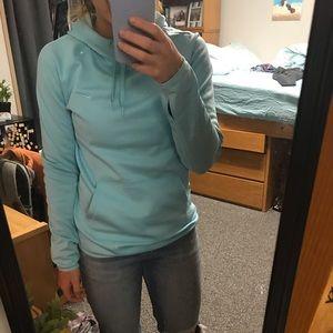 Nike blue drifit hoodie, fleece lining